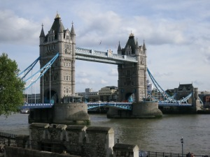The Tower Bridge as seen from the walls of the Tower of London.